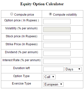 Premium calculation in option trading